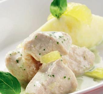 Bocconcini di pollo al limone a basilico