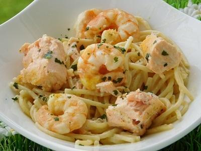 Spaghetti gamberi e salmone